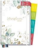 Lehrer-Planer 2021/2022 A5+ [Blattgold] Hardcover Lehrerkalender Schuljahresplaner mit Sprüchen, Stickern, Gummiband und mehr | nachhaltig & klimaneutral