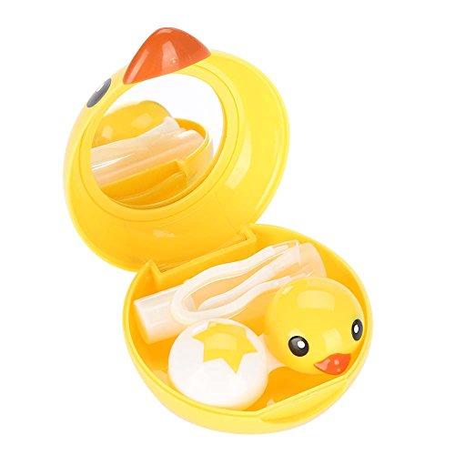 Caso de la lente de contacto, lindo mini pato de dibujos animados titular de la lente de contacto El cuidado de los ojos empapa las lentes de almacenamiento caja de contenedor caja de espejo
