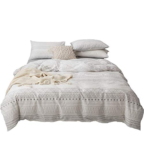 Anthropologie Duvet Cover,100-percent Cotton Minimalist Chic Mysterious Theology Bedding Set,Abstract Europe Artistic Design,Exotic Reversible Nature Muted Pattern,with Zipper Closure(3pcs,Queen)