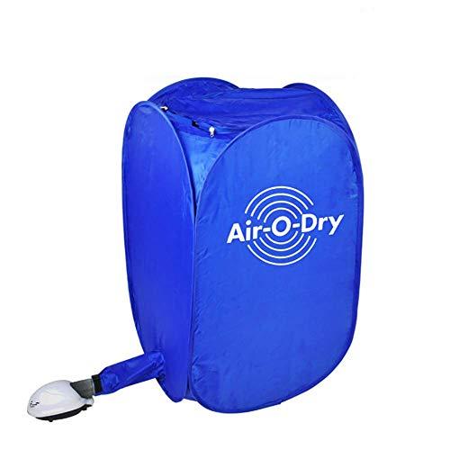 JXWWN Portable Clothes Dryer, Blue Mini Folding Ventless Electric Air Clothes Dryer Bag Folding Fast Drying Machine.