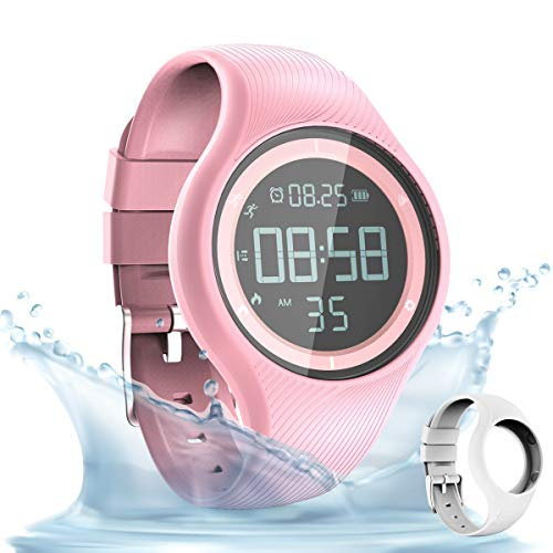 synwee Sports Fitness Tracker Watch,IP68 Waterproof, Non-Bluetooth, with Pedometer/Vibration Alarm Clock/Timer,for Kid Children Teen Boys Girls Women (Pink)