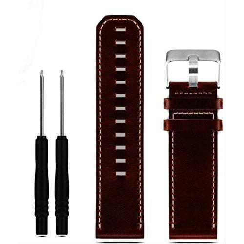 Bracelet de rechange en cuir véritable pour montre Garmin Fenix 3/Fenix 3 HR/Fenix 5x 26 mm (marron)