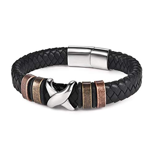 Jewellery Bracelets Bangle For Womens Punk Men Jewelry Braided Leather Bracelet Stainless Steel Magnetic Clasp Trendy Bangle Hiphop Male Wristband Gift-37_18.5Cm