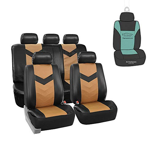FH Group PU021115 Faux Leather Seat Cover (Tan) Full Set with Gift - Universal...