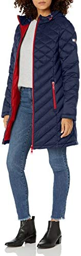 Tommy Hilfiger Women s Midlength Hooded and Quilted Packable Jacket Navy Medium product image