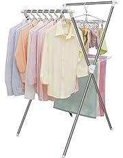 アイリスオーヤマ 洗濯物干し 室内物干し コンパクト収納 タオルハンガー付き 軽量 約2人用 幅約70×奥行約49×高さ約100cm