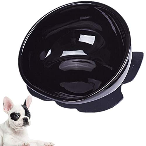 JYHY Bulldog Bowl Ceramic Dog Food Bowl - Dog Cat Dish Wide Mouth Dog Bowl Pet Sterile Tilted Pet Feeder with Anti-Skid Rubber Mat,Black