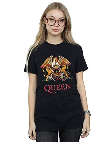Absolute Cult Queen Mujer Crest Logo Camiseta del Novio Fit Negro X-Large