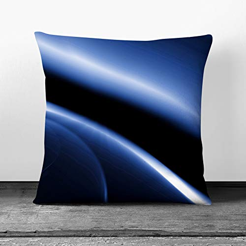 Cushion and Cover - Blue Abstract Art (17) - Single Square Throw Pillow - Soft Faux Suede Material - Double-sided - 55x55 cm