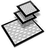Destination 37689 - Mantel individual (vinilo, 20 x 25 cm, 2 posavasos de 10 x 10 cm), color gris