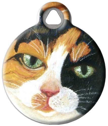 Dog Tag Art Custom Pet ID Tag for Cats - Calico Kitty - Small - .875 inch