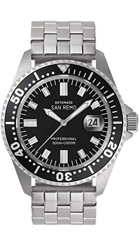 DETOMASO San REMO D05-01-01 - Reloj de buceo automático para hombre, analógico, caja de acero inoxidable plateada, correa de acero inoxidable plateada, esfera negra