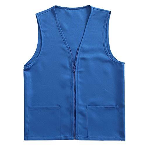 TOPTIE Adult Volunteer Activity Vest Supermarket Uniform Vests Clerk Workwear-Royal Blue-XXL