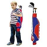 Juego de juguetes de golf junior, juego de palos de golf al aire libre de colores 3 pelotas de golf 3 palos 2 agujeros de práctica 1 soporte para pelota y mochila de almacenamiento para niños que prac