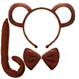 3 Pieces Monkey Ear Headband Bowtie and Tail for Cosplay Costume Party Supplies