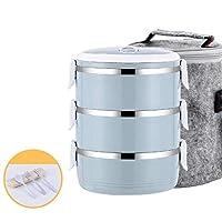 キッズスクール-4_Layer_Pink_-_セットの熱ポータブルステンレススチール製食品容器漏れ防止日本の弁当箱プラスチック製のランチボックスサーモス3 4レイヤ CT55CT (Color : 3 Layer Blue Set)