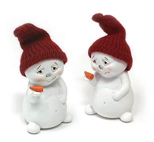 TEMPELWELT 2X Deko Figur Schneemann Nase Ab im Set je 7 cm, Polystein Weiß Textil Wollmütze Rot, Dekofigur Winter Weihnachten Winterdeko