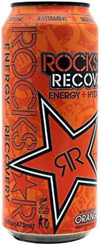 Rockstar Recovery Energy + Hydration Non Carbonated Energy Drinks (Orange, 12 Cans)