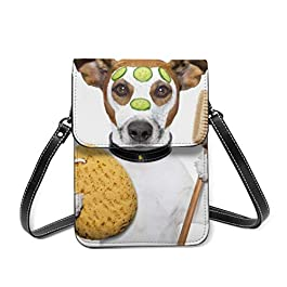 Cell Phone Purse Puppy Doing Grooming Cute Wallet Crossbody Bags For Women Lightweight Shoulder Bag