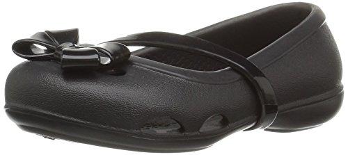 Crocs Girls' Lina Flat, Black, 4 M US Toddler