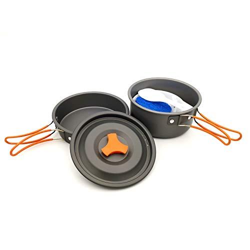 CYSHAKE Acampar al Aire Libre Set portátil de ollas y sartenes Combinado Conjunto Cooker Cocina portátil (Color : Orange)