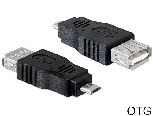 DeLock adapter USB Micro-B stekker naar USB 2.0 A stopcontact OTG (On-The-Go) voor het aansluiten van USB-apparaten op smartphones en tablets Gerade
