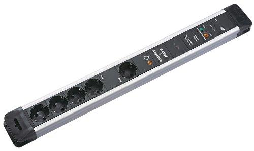 Bachmann 330.107 contactdoos CONNECTUS met 4 + 1 x geaarde stopcontacten, master- & slave, volledige bescherming en 2,0 m voedingskabel, 250 V, zwart