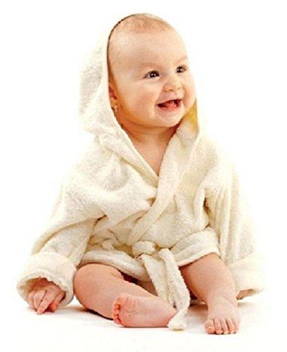Haberkorn Haberkorn Baby weicher Frottee Bademantel mit Kapuze Gürtel und Knopf beige