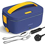 YISSVIC Electric Lunch Box 1.5L Heating Bento Box 220V/12V/24V Electric Thermal Lunch Box with Detachable Stainless Steel Container Fruit Box for Car Home Office Travel Use