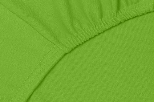 Double Jersey – Spannbettlaken 100% Baumwolle Jersey-Stretch bettlaken, Ultra Weich und Bügelfrei mit bis zu 30cm Stehghöhe, 160x200x30 Lime - 5