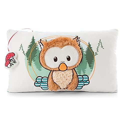 """NICI Owlino el cojín de búho - Cojines de juguete de peluche esponjoso de la serie """"The Owlsons"""", Cojín de pájaro para niñas, niños y bebés, almohada rectangular de juguete suave, 43 x 25 cm (47094)"""