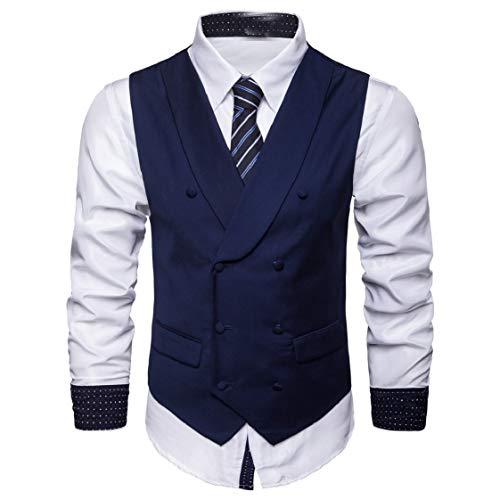 DressUMen Gira el collar abajo puro color formal Doble - traje cruzado vestido del chaleco para Hombres