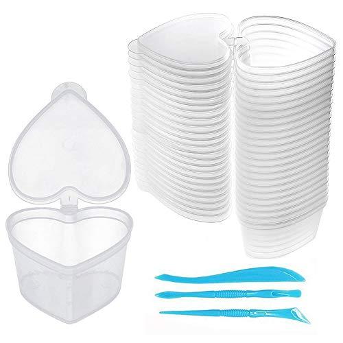 Swzy, 24 contenitori per slime a forma di cuore in plastica trasparente, con coperchio, da 20 g (45 ml), per slime, argilla e palline in schiuma, con 3 strumenti per slime