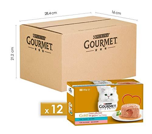 Purina Gourmet Gold Umido Gatto Cuore Morbido con Tonno, Salmone, 48 Lattine da 85 g Ciascuna, 12 Confezioni da 4 x 85g