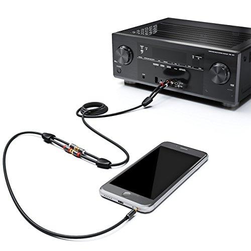 deleyCON Stereo Audio Cinch zu Klinken Adapter - 3,5mm Klinken Stecker zu 2X RCA Cinch Buchse - Metall - Vergoldet - Schwarz