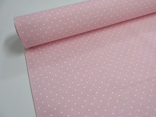 Confección Saymi Metraje 0,50 MTS Tejido loneta Estampada Ref. Topitos Blanco Fondo Rosa Bebé, con Ancho 2,80 MTS.