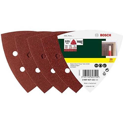 Bosch 2607017111 Set de 25 abrasifs pour Ponceuse Delta 105 mm Grains 60/120/180