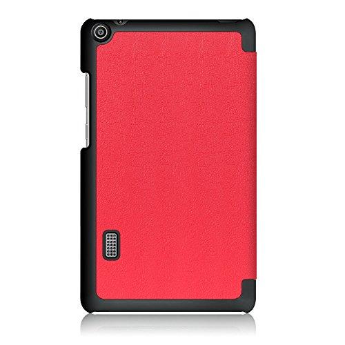 Kepuch Custer Hülle für Huawei MediaPad T3 7.0 WiFi,Smart PU-Leder Hüllen Schutzhülle Tasche Case Cover für Huawei MediaPad T3 7.0 WiFi - Rot - 3