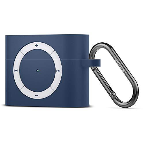 【Spigen】 AirPods Pro ケース カバー iPod shuffle 完全再現 カラビナ リング 付き シリコン 収納ケース 衝撃 吸収 軽量 キズ防止 耐衝撃 エアポッズ プロ ワイヤレス充電 対応 クラシック・シャッフル ASD02218 (ディープ・ブルー)
