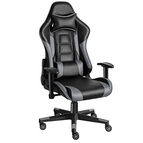 Twomaples Gaming Stuhl, Racing Computerstuhl Ergonomischer Bürostuhl, Drehbar Höhenverstellbar Gaming Chair, PC Stuhl mit Kopfstütze, 150 KG Belastbarkeit (Schwarz/Grau)