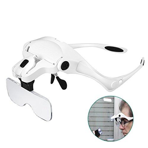 Rightwell Lupenbrille mit Licht Hände Frei Kopfband Lupen mit 2 LED Lichts für Elektriker,Juweliere,Nähen,und ältere Menschen-5 Wechselobjektive (1.0X bis 3.5X)