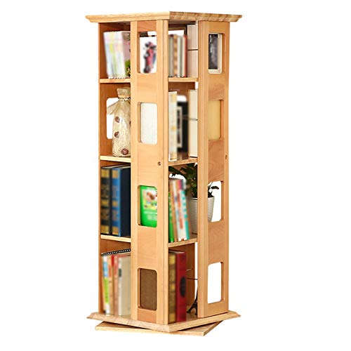 XJJUN Bookshelf, 360-degree Rotating Bookcase, Floor-to-Ceiling Solid Wood Shelf, Large Capacity and Small Storage Student Bookcase (Color : Brown, Size : 44x44x120cm)