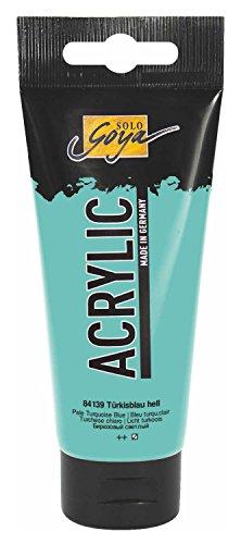 Kreul 84139 - Solo Goya Acrylic, cremige vielseitig einsetzbare Acrylfarbe in Studienqualität, auf Wasserbasis, schnell und matt trocknend, gut deckend, wasserfest, 100 ml Tube, türkisblau hell