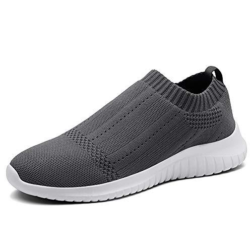 TIOSEBON Damen Wandersocken Schuhe Leichte Slip On Atmungsaktive Yoga Sneaker, - Ein tiefes Grau - Größe: 43 EU