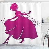 AdaCrazy Prinzessin Duschvorhang, Silhouette von Aschenputtel trägt ihren Glaspantoffel Kinder Märchen, Stoff Stoff Bad Dekor Dekor mit Haken, 72