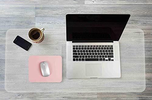 Klare Schreibtischunterlage, Unterlage Schreibtisch mit Runder Kante, wasserdichtes PVC Schreibunterlage Transparent mit 25 x 20 cm Rutschfeste PU-Leder-Mauspad für Büro/Zuhause (80 x 40 cm)