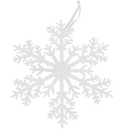 WINOMO Weihnachten Schneeflocke Ornamente Klare Acryl Schneeflocke Weihnachten Baum Hängen Dekorationen Weiße Schneeflocken Fenster Kamin Ornamente Weihnachten Urlaub Winter Party