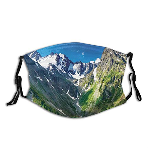 BohoMonos Face Cover Majestic Lake in Altai Mountains Snowy Peaks Wooded Skirts Sky Balaclava Reusable Windproof Anti-Dust Mouth Bandanas Outdoor Camping Motorcycle Running Neck Gaiter with 2 Filters