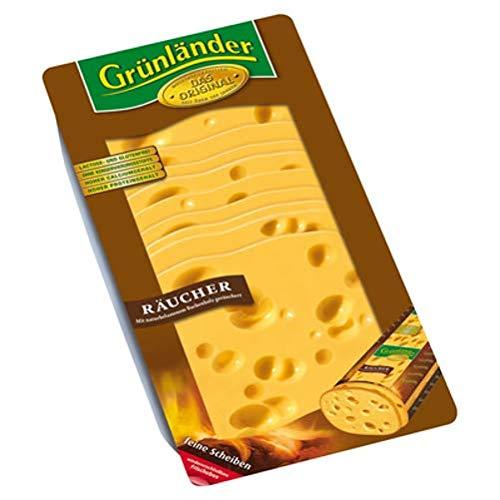 Grünländer Räucher halbfester Schnittkäse, 48 {a2623fbe3e7537ddb1214654facce048a96a4bbc30b2f1917ff7d768cc571491} Fett i. Tr. 500 g Packung