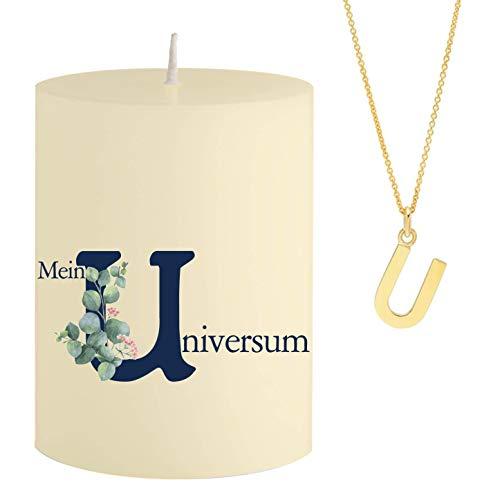 Schmuck-Krone - Vela con mensaje Mein U niversum - Collar oculto dorado con letra U - Vela aromática de sándalo naranja - Color amarillo - Regalo único